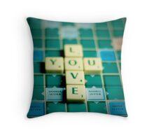 Love You Scrabble. Throw Pillow