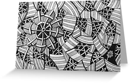 226 - FREE-HAND GEOMETRICAL FLORAL DESIGN - DAVE EDWARDS - INK - 2010 by BLYTHART