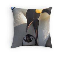 Emperors and Chick - Snow Hill Island Throw Pillow
