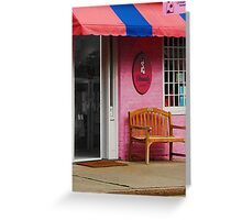 Dress Shop With Orange and Blue Awning Greeting Card