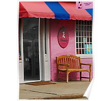 Dress Shop With Orange and Blue Awning Poster