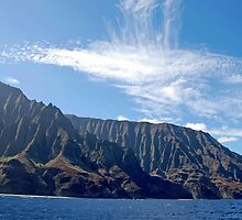 Napali Coast cliffs, on Kauai, Hawaii by Michael Brewer