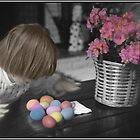 Easter Harvest - Child with Easter Eggs by Wayne King