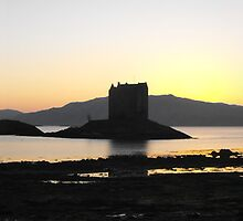 Panorama of Castle Stalker, Loch Linnhe, Scotland by ElsT