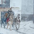 Winter Village and Carriage by jillcsmith