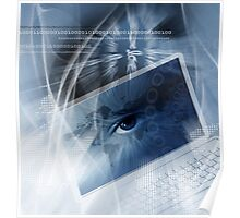 Technology background with computer Poster