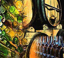 Barrels bottles & glasses by Richard Trousdale