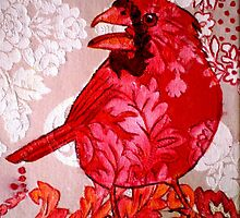 "Red Bird Sitting on a Wall by Belinda ""BillyLee"" NYE (Printmaker)"