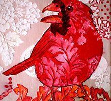"Red Bird Sitting on a Wall by Belinda ""BillyLee"" NYE (Printmaker)"