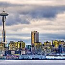 Seattle Washington space needle in HDR by Jeffrey  Sinnock
