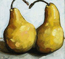 Sweet Loving Pair - still life pears by LindaAppleArt