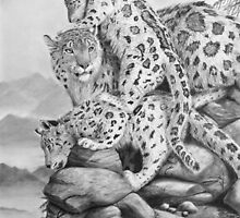 Lookout - Snow Leopards by Heather Ward