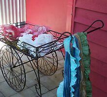 Cart full of scarfs by Megan Thomas