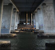 Fishing under the Motorway bridge by Graham Mewburn