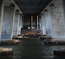Fishing under the Motorway bridge by Graham Mewburn