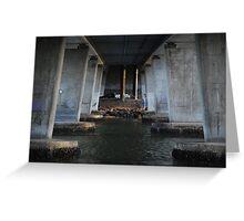 Fishing under the Motorway bridge Greeting Card