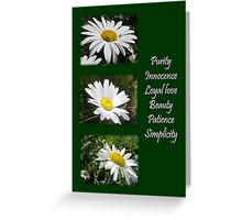 Common daisy Collage: Purity, Innocence and Love. Greeting Card