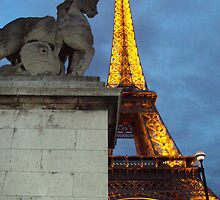 Eiffel Tower with statue by Alberta Brown Buller
