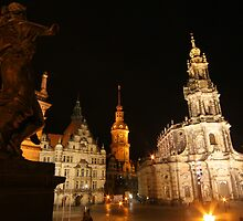 Night Ensemble of Dresden at Elbe River by christopher363