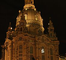 Frauenkirche Dresden illuminated at night by christopher363
