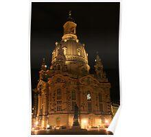 Frauenkirche Dresden illuminated at night Poster
