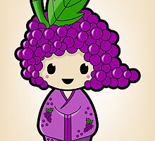 Grape Kokeshi Doll by Bubble Doll