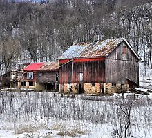 The Rustic Charm of an Old Winter's Barn by wiscbackroadz