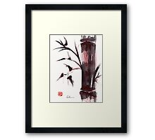 """Crimson in the Mist"" dry brush and India ink bamboo painting Framed Print"