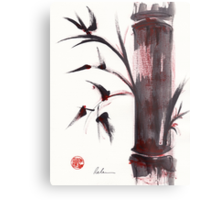 """Crimson in the Mist"" dry brush and India ink bamboo painting Metal Print"