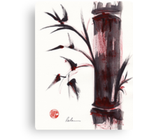 """Crimson in the Mist"" dry brush and India ink bamboo painting Canvas Print"