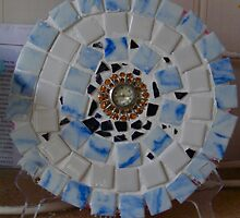 Blue Swirl clock plate mosaic  by mandyemblow