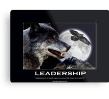 Leadership Grey Wolf and Raven Artwork Metal Print