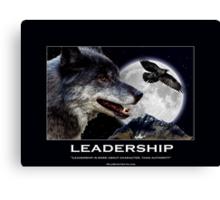 Leadership Grey Wolf and Raven Artwork Canvas Print