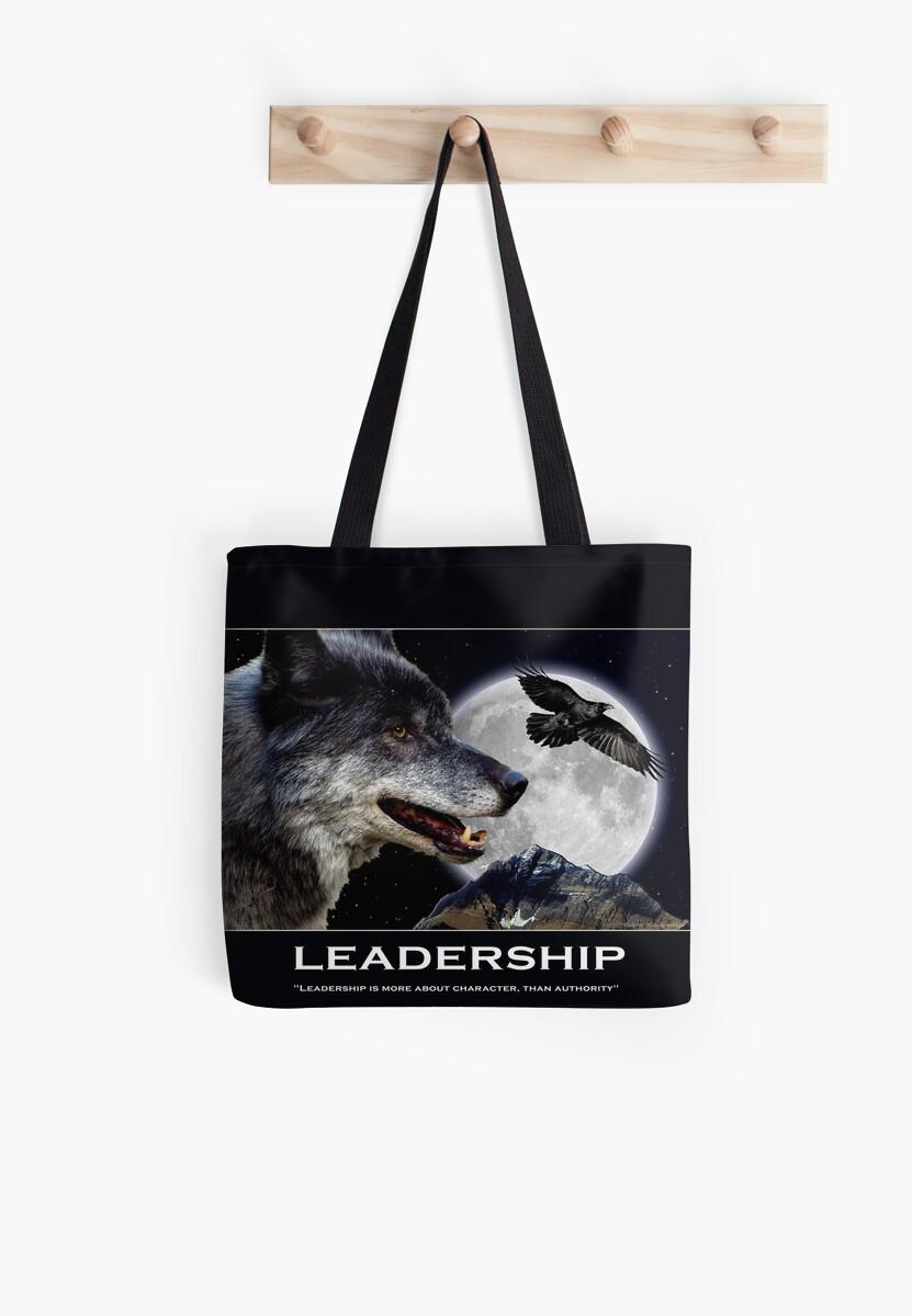 Leadership Grey Wolf and Raven Artwork by Val  Brackenridge