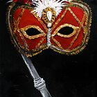 Masquerade - An Ornate Mask in Red & Gold by CisforChristine
