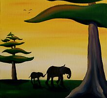 Elephant Silhouette by Sarah  Mac