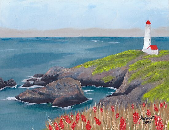 Lighthouse Waiting ~ Seascape ~ Oil Painting by Barbara Applegate