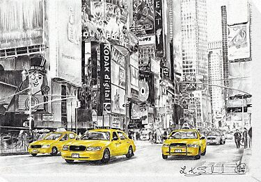 Three Yellow Taxi&#x27;s by L K Southward