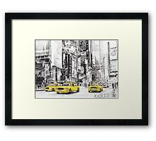 Three Yellow Taxi's Framed Print