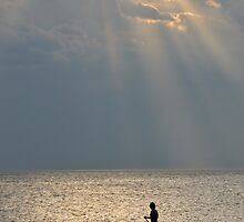 Man And Dog At Sunset, Perth, Western Australia. by Stewart Allen