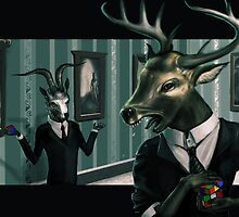 Deer head hates rubix cube by Dull