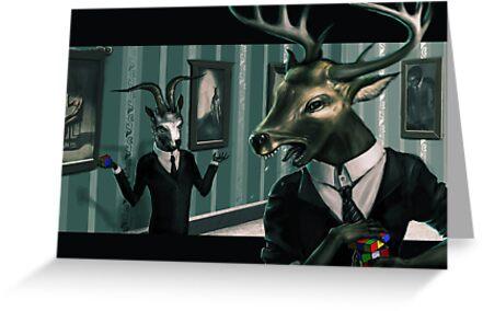 Deer head hates rubix cube by Dull