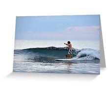 Man And Dog Surfing, Perth, Western Australia. Greeting Card