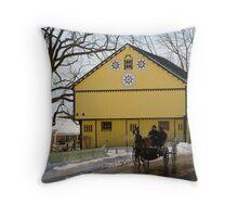 Bright Yellow Barn Throw Pillow