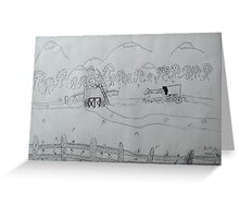 Ink drawing done by nine year old-(AMISH FARM) Greeting Card