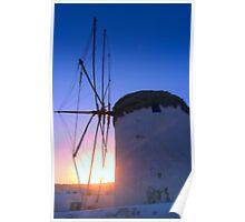 Mykanos Windmill at Dawn Poster
