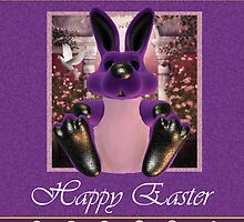 Easter Card With Purple Bunny And Eggs by Moonlake