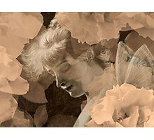 Fairy and Echoed/Ghosted Roses in Sepia – February 11, 2010 Photographic Print