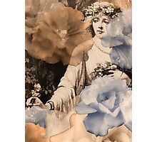 Ghosted/Echoed Roses and Woman Gathering Flowers Photographic Print