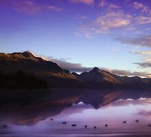 lake wakatipu at sunset by dennis william gaylor
